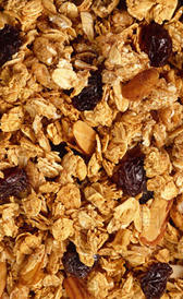 cereales de desayuno con base de maíz, avena y trigo, dorados con miel, alimento rico en vitamina B5 y vitamina B2