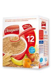 Papilla de cereales, frutas y yogurt con leche polvo