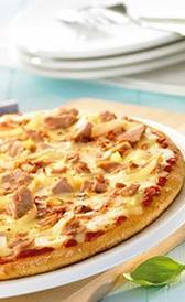 pizza de atún congelada, alimento rico en fibra y yodo